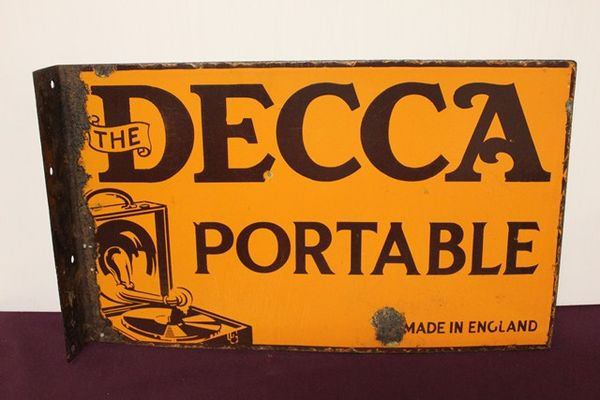 Decca Portable Gramophone Pictorial Post Mount Enamel Sign
