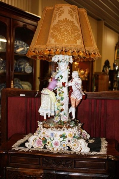 Dresden Porcelain  Figural Table Lamp