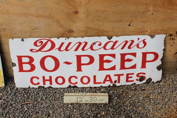 Duncans Bo Peep Chocolate Enamel Sign