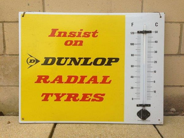 Dunlop Tyres Enamel Advertising  Thermometer