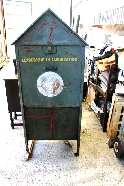 Early 2 Pump Shell Oil Cabinet in Original Condition