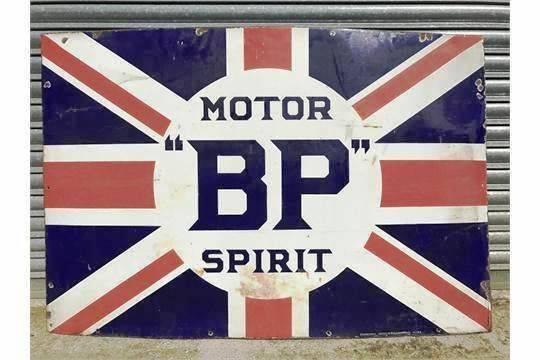 Early BP Motor Spirit Union Jack Enamel Sign
