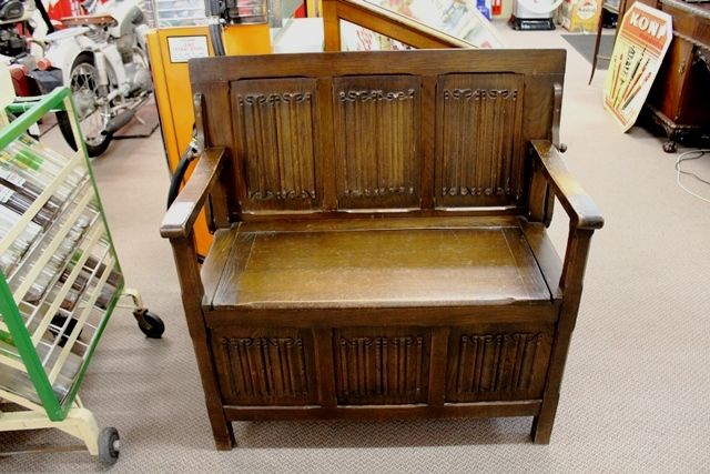 Early C20th English Oak Monks Bench