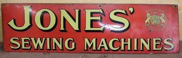Early Jones Sewing Machine Adv Enamel Sign