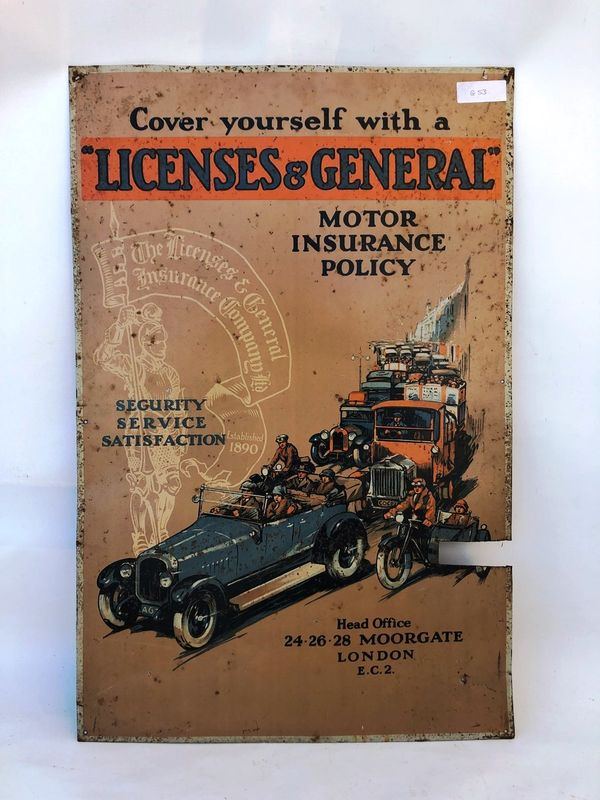 Early Licenses and General Motor Insurance Sign