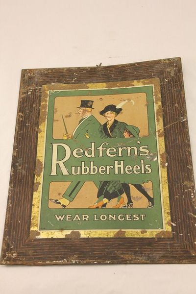 Early Redferns Rubber Heels Tin Ad Card