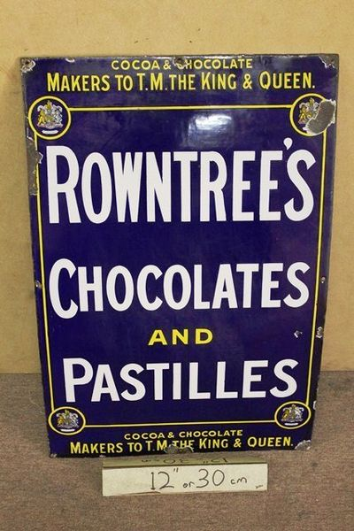 Early Rountrees  Chocolates + Pastilles Enamel Sign