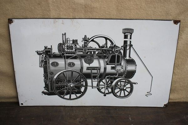 Early Stationary Engine Enamel Sign