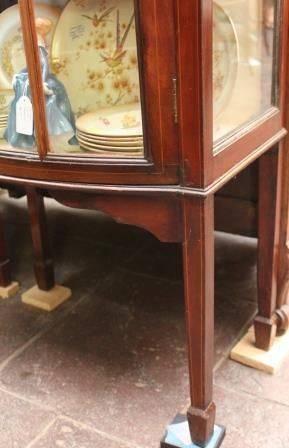 Edwardian Bowfronted Inlaid Mahogany Display Cabinet c 1910