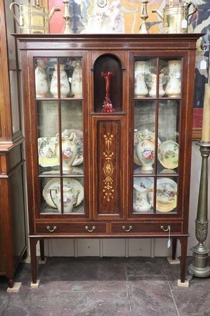 Edwardian Inlaid 2 Door Mahogany Display Cabinet