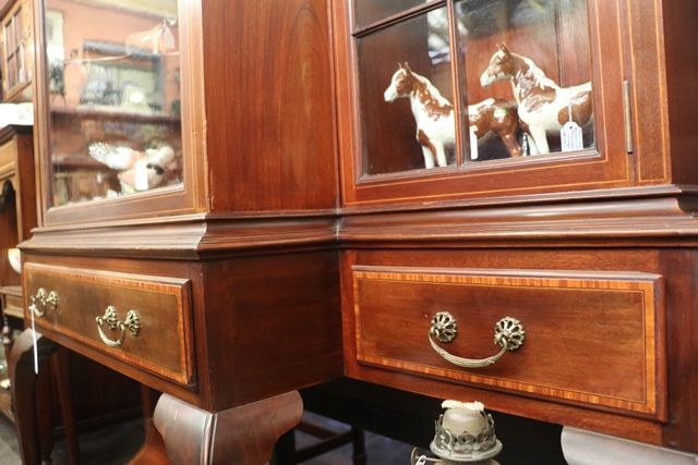 Edwardian Inlayed Breakfront  Display Cabinet  Dated 1904