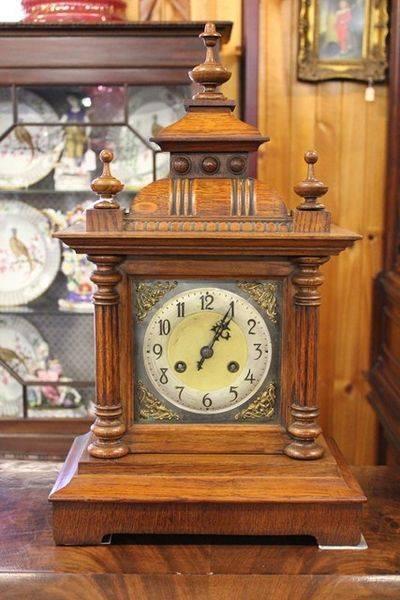 Edwardian Oak Cased Two Train Mantle Clock
