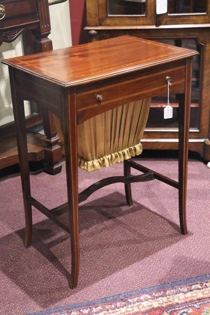 Edwardian Walnut Inlaid Sewing Table