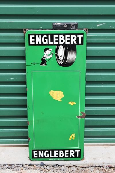 Englebert Enamel Tyre Chart Sign