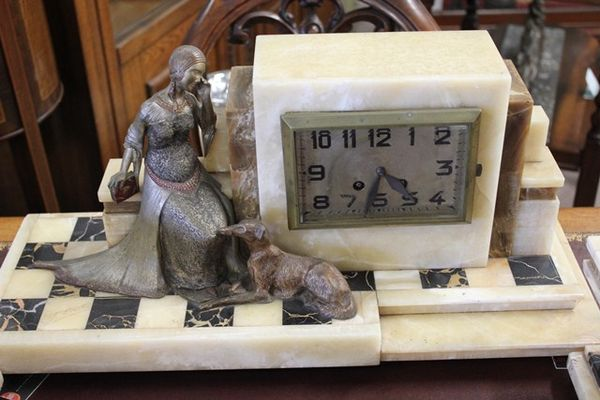 Exceptional Art Deco 3 Piece Clock Set In Cream And Brown Onyx