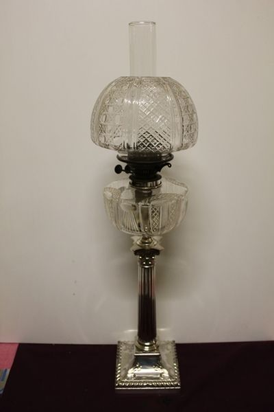 Exceptional Victorian Oil Lamp Cut Lead Glass Shade + Font Silver Plate Column