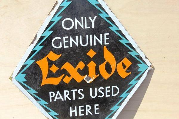 Exide Genuine Parts Enamel Sign