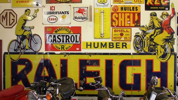 Fabulous Early 3 Piece Raleigh Enamel  Advertising Sign