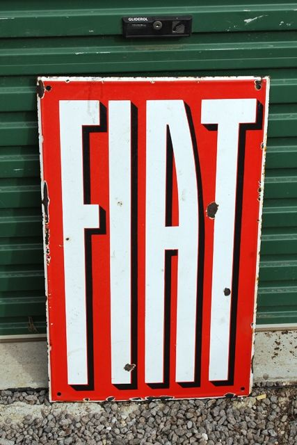 Fiat Double Sided Enamel Advertising Sign