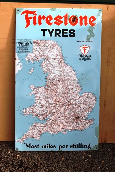 Firestone Map Of England Enamel Sign