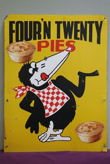 Fourand39n Twenty Pies Pictorial Double Sided Advertising Sign