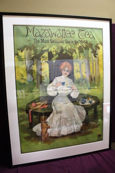 Framed Antique 2 Piece Mazawattee Tea Poster Stunning Pictorial Advertising sign
