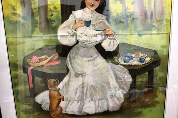 Framed Antique 2 Piece Mazawattee Tea Poster Stunning Pictorial Advertising sign