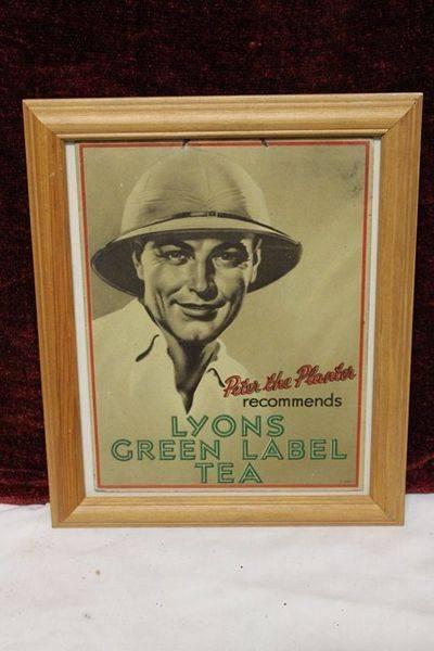 Framed Lyons Tea Advertising Card