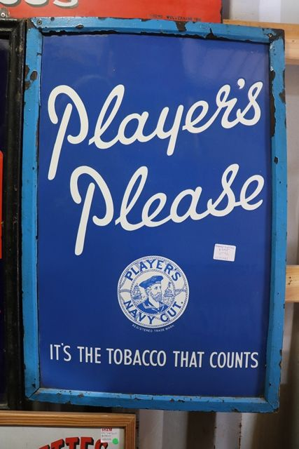 Framed Players Please Enamel Sign