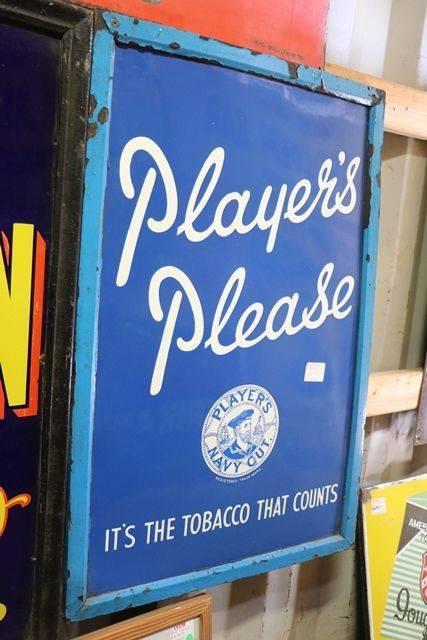 Framed Players Please Enamel Sign
