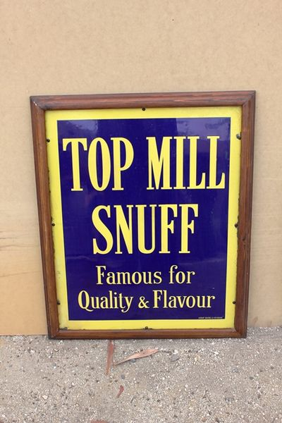 Framed Top Mill Snuff Tobacco Enamel Sign