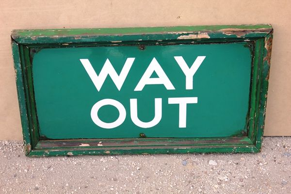 Framed Way Out Enamel Sign