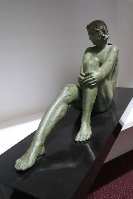 French Art Deco Green Spelter Figure