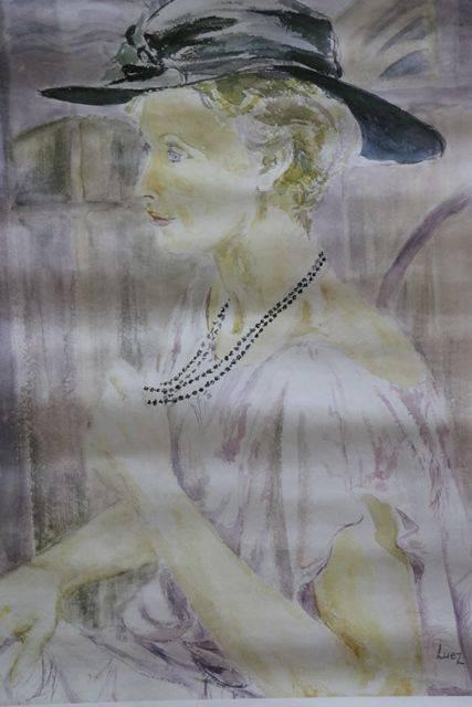 French Art Poster Evelyne Luez  Paris 1987  Watercolor Portrait