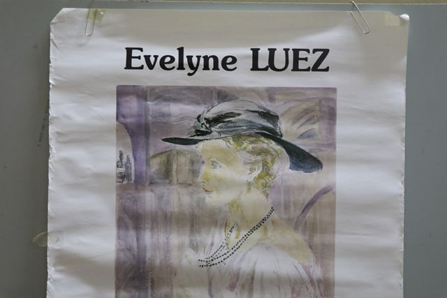 French Art Poster Evelyne Luez  Paris 1987  Watercolor Portrait