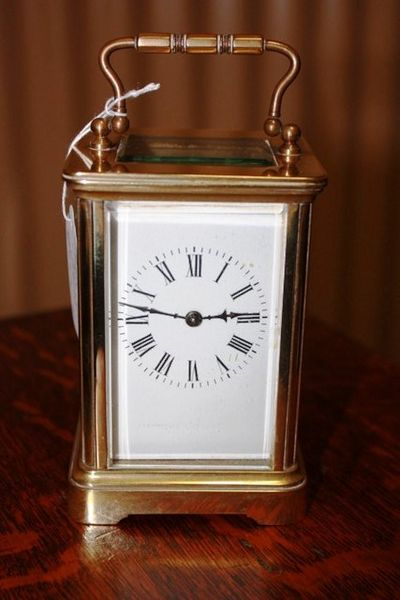 French Brass 8 Day Carrige Clock C1900