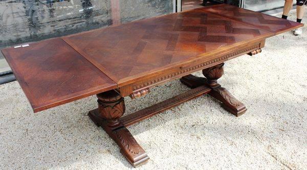 French Drawer Leaf Table Carved Oak C1925