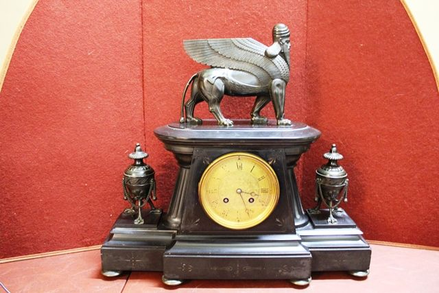 French Marble Clock With Bronze Mounts By H Y Marc Paris
