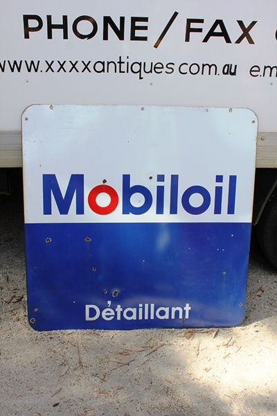 French Mobiloil Distributor Double Sided Enamel Sign