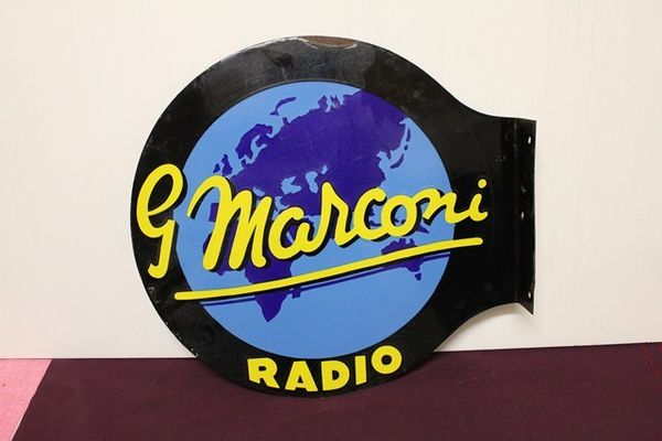 GMarconis Radio Double Sided Post Mount Enamel Sign