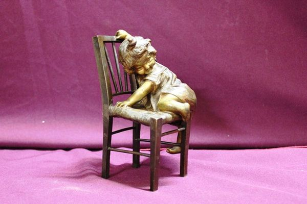 Genuine Juan Clara Bronze Figure Little Girl Climbing Chair Signed And Foundry Marked