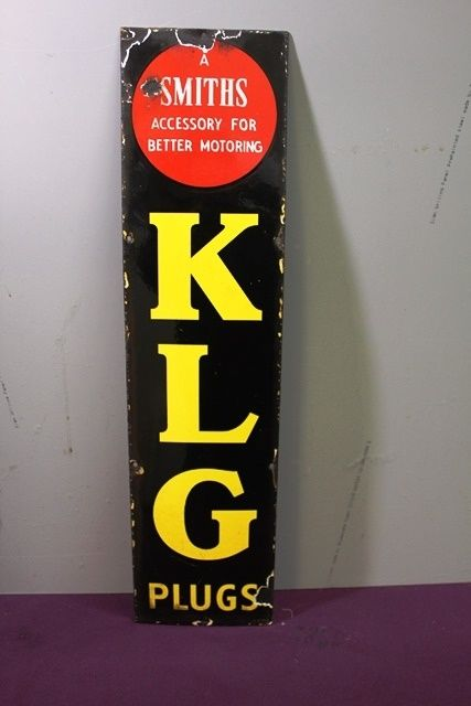 Genuine K L G Spark Plug Enamel Sign