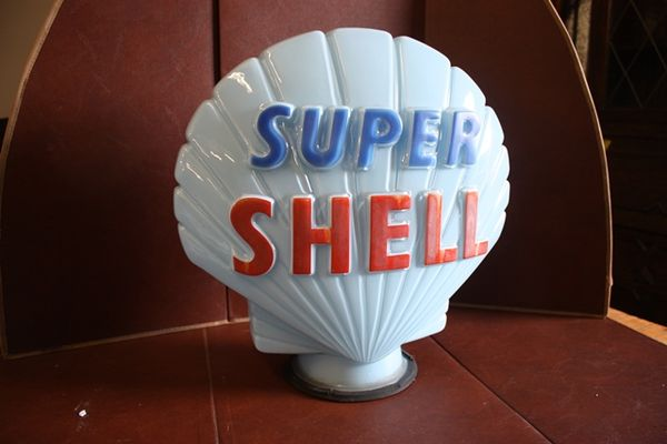 Genuine SHELL Blue Glass Petrol Pump Globe Arriving Nov