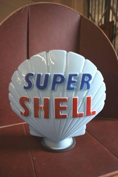 Genuine SHELL Blue Glass Petrol Pump Globe Arriving Nov