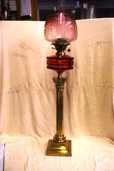 Genuine Victorian Ruby Glass Banquet Lamp Arriving Nov