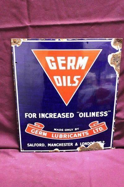 Germ Oils Advertising Enamel Sign