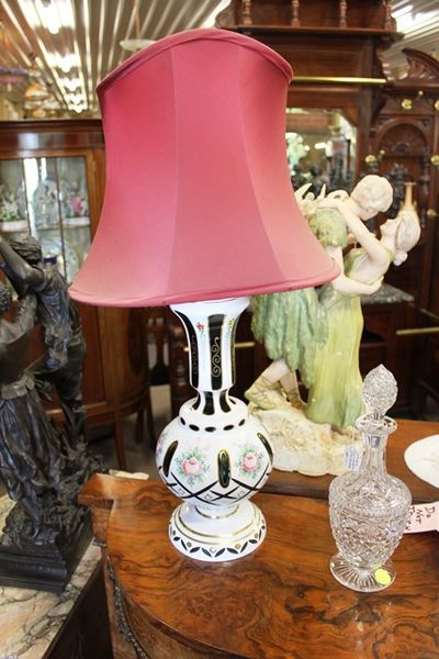 Green Ruby Overlay Lamp And Shade