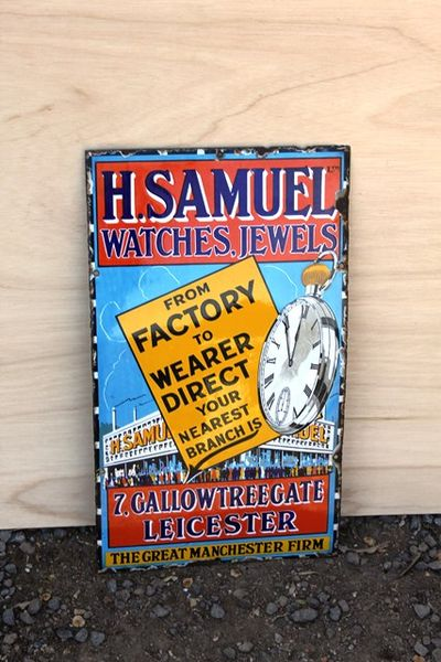 H Samuel Watches And Jewls Enamel Sign