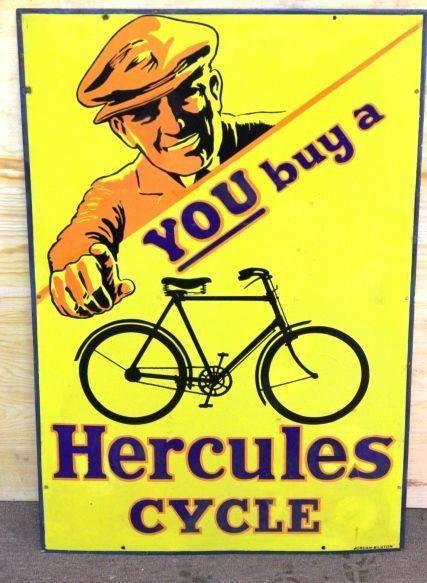 Hercules Cycles Vintage Pictorial Enamel Sign