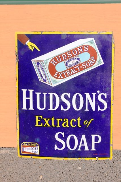Hudsons Extract Of Soap Enamel Advertising Sign